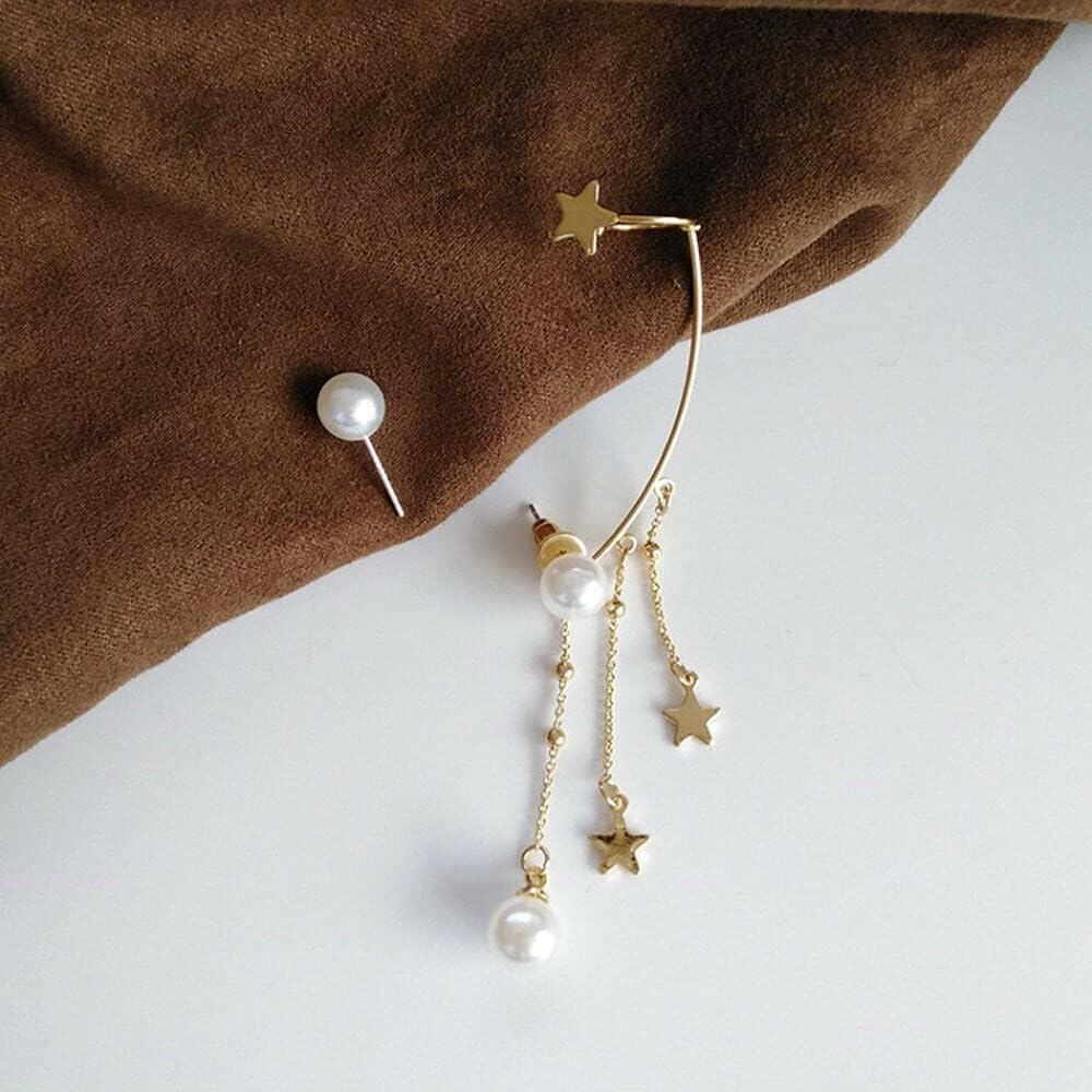 Luxury Korean Charm Star Ear Cuff Ear Studs Fashion Jewelry Tassel Earrings