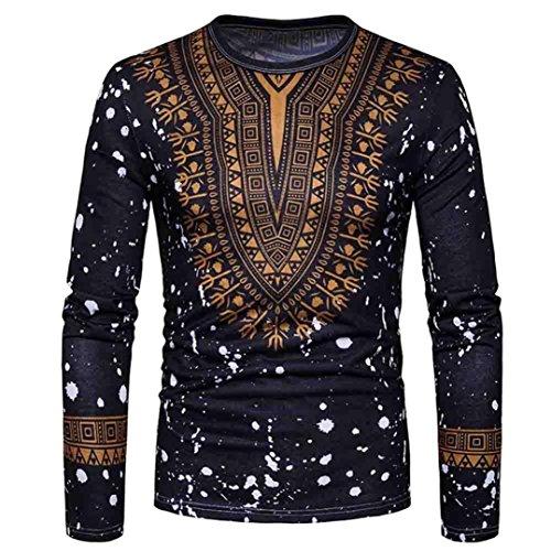Btruely T Shirt Herren Langarm Hemden Herren African Style Shirt Freizeit Lose Shirt Herren Langarm Tee Männer T Shirt Rundhal Langarmshirt Freizeit Tops (Asia Größe S, Schwarz)