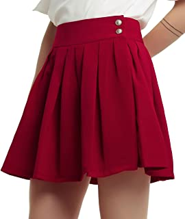 Women's Double Waist Side Buttons Pleated Skirt