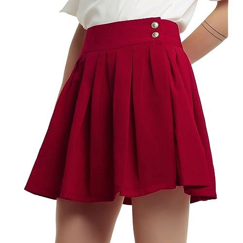 9d033e1b6 chouyatou Women's Double Waist Side Buttons Pleated Skirt