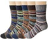 Justay 5 Colores de Calcetines de lana Mujeres Super Gruesa Suave Cómodo Calcetines de Invierno la Mezcla