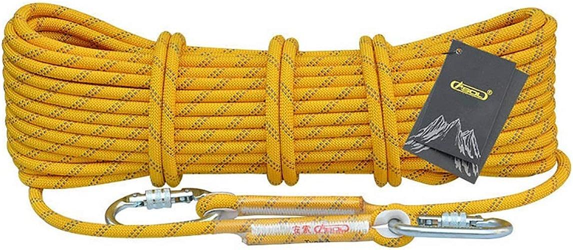 TLMYDD Corde d'escalade Corde Statique Travail aérien Corde Corde de Rappel extérieure diamètre 10.5 12   14mm Jaune Cordes (Taille   10.5mm 10m)