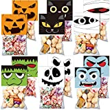 36 Pieces Halloween Treat Bags Plastic Cello Candy Bags Self-adhesive Trick or Treat Goodies Favor Bags with 36 Pieces Cute Bag Toppers Baking Wrapping Bags for Boys Girls Halloween Party Supplies Kit