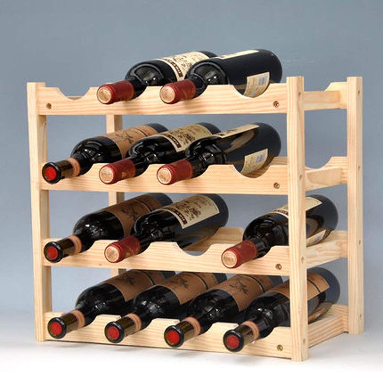4-stufiges stapelbares Weinregal -Faltbarer Holz-Arbeitsplattenschrank Weinhalter Ablagekeller- Freistehend - Perfekt für Bar, Weinkeller, Keller, Schrank, Speisekammer usw. - Halten Sie 16 Flaschen,