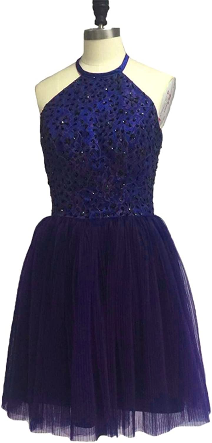 XPLE A Line Halter Keyhole Open Back Lace Tulle Short Homecoming Dress Prom Gown Party D15