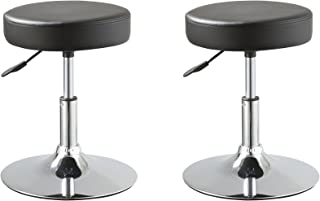 Duhome Set of 2 Medical Stools Office Reception Spa Salon Dining Chairs Swivel Height Adjustable PU Leather Seat Contemporary (Black)