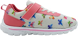 KazarMax Kid's White & Pink Butterfly Printed Sports Shoes for Boys/Girls(Unisex) (Made in India) 2.5 Years To 9 Years