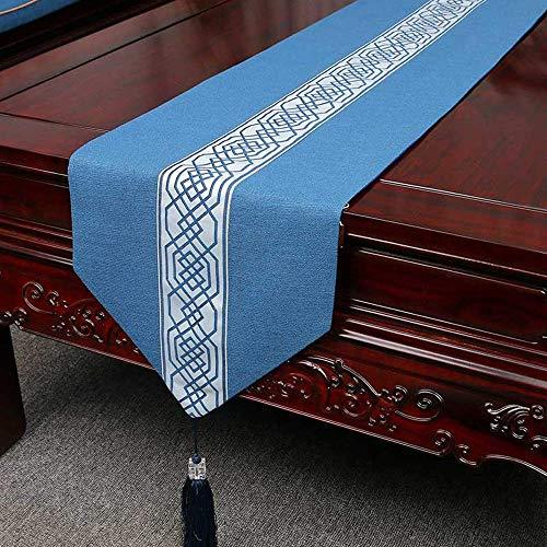 Chinese Retro Zen Cotton tafelloper, kwastthee vlag, blauw/grijs/lichte koffie, huisdecoratie | bruiloft/feest/fotografie/verjaardag/Kerstmis, 33 x 150 cm/33 & times; 20