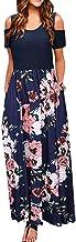Reooly Vestido Largo Maxi sin Mangas con Estampado de Cuello o Mangas Casuales para Mujer