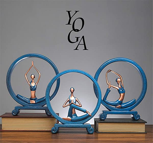 ZJINHUI Yoga Desk Decorations Yoga Girl Statues Desk Decorations Resin Figurines And Sculptures For Home Decor Office Desk Decor Navy Blue 3 Pack