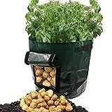 JKKJ Bolsas de cultivo de vegetales, espesar bolsas de cultivo de plantas de tela PE con solapa de ventana y asas, bolsa de jardín para patata, tomate, zanahoria, cebolla, fruta
