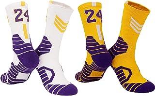 LXMR, 2 Pares de Calcetines de Baloncesto de élite para Hombres, Calcetines Deportivos Lakers n. ° 24, Calcetines de fútbol, Calcetines de Boxeo Antideslizantes, Calcetines Deportivos para Hombres-