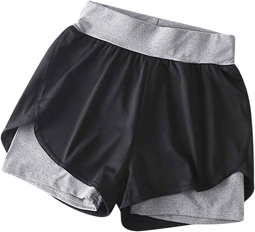 MODOQO Women's Yoga Color Elastic Sport Pants Trousers Shorts Pants Fitness Pants