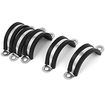 25mm Rubber Lined Steel Strong P Clip Clips Hose Pipe Clamps Cable Wire 50 Pack