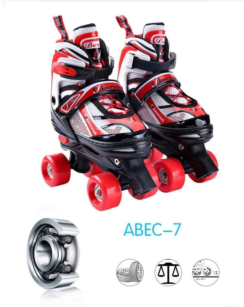 Quad Rollerskates Verstelbare rolschaatsen Kinderen Jongens Meisjes Beginners Volwassenen Single Wheel Dubbele wielen Skate Combo, Blauw-S (31-34) Zwart-L (39-42)