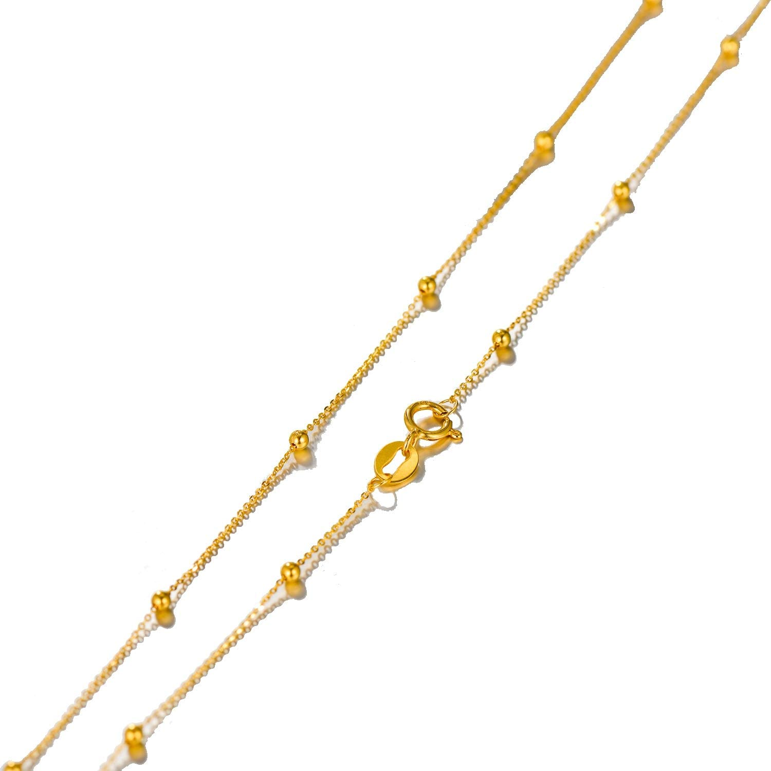 Solid 18k Gold Rosary Bead Ball Chain Necklace for Women, Real Gold Chain Necklace, 18