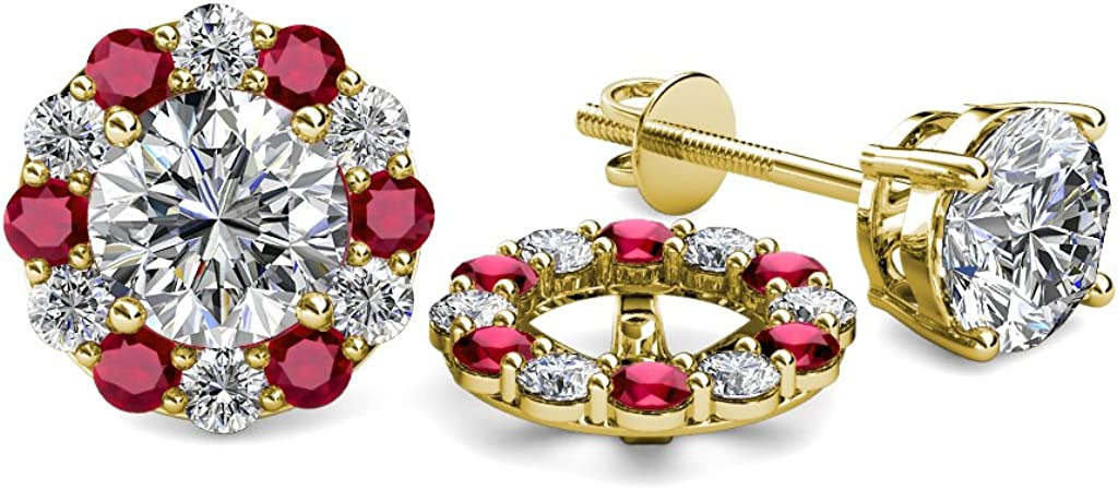 TriJewels Diamond and Ruby 0.74 Carat tw Women Halo Jackets for Stud Earrings in 14K Yellow Gold