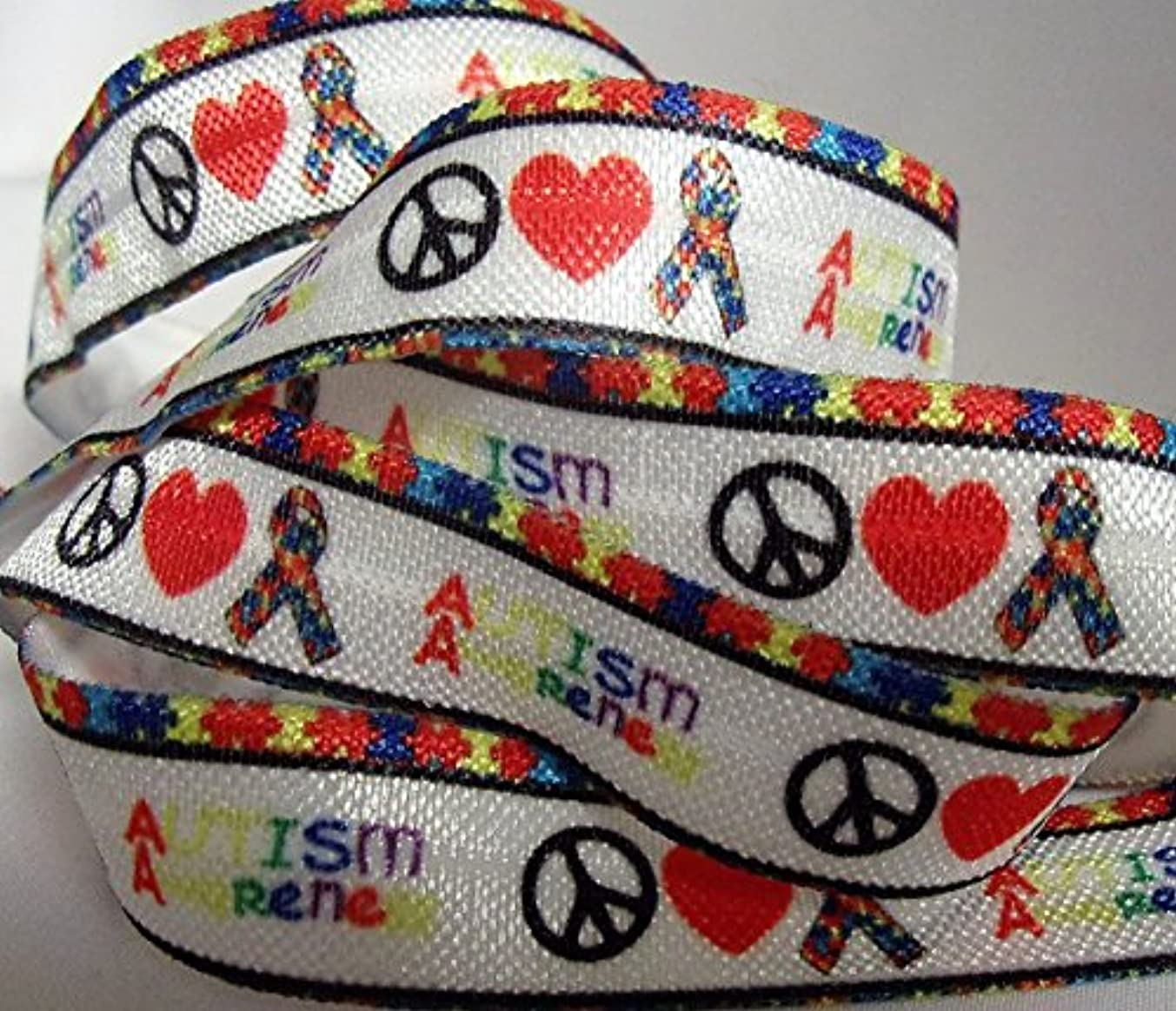 Fold Over Elastic - Peace, Love & Autism Awareness - 5/8