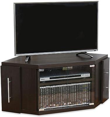 JKプラン コーナーテレビ台 テレビ台 テレビボード ガラス扉 収納 収納庫付 スライド 収納家具 SGT-1114-BR