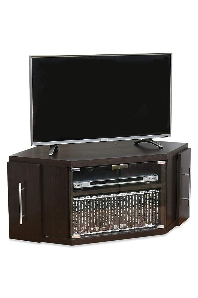 バイアス負荷パッケージJKプラン コーナーテレビ台 テレビ台 コーナー コンパクト スライド 収納庫 収納付き テレビラック AVボード 三角コーナー ブラウン ダークブラウン 40型 SGT1114BR