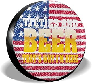Kon KK Accessories Titties and Beer That's Why I'm Here Funny Spare Tire Cover Waterproof Dust-Proof Universal Wheel Tire Covers Fit for Jeep Trailer RV SUV