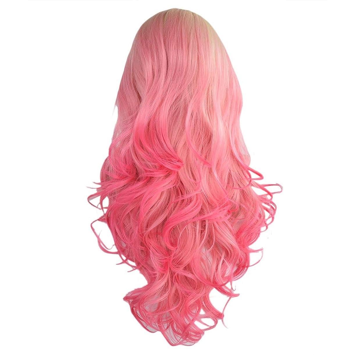 酔って砂のショートカット女性フロントレースピンクの長い巻き毛の波状の巻き毛の自然な現実的なセクシーなコスプレパーティーの小道具かつら
