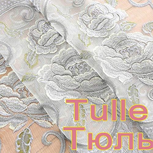 Gordijnen in de woonkamer Luxe grijze gordijnen met borduurwerk voor slaapkamer Woonkamer Raambehandeling Vitrages Tule Gordijnen WP147 * 30, Tule, 1 stuk B300xH260 CM