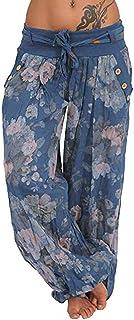 Sceoyche Women Ladies Printed Pocket Band Width Loose Leg Pants Women's Casual Pants