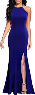 Women's Sexy Spaghetti Straps Slit Formal Long Bridesmaid Maxi Party Evening Dress Mermaid Prom Gown