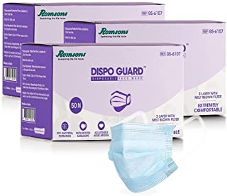 Romsons Dispo Guard 3 Ply Mask With Softest Ear Loops, 50Pcs/Pack (Pack of 3), 150 Pcs, Blue