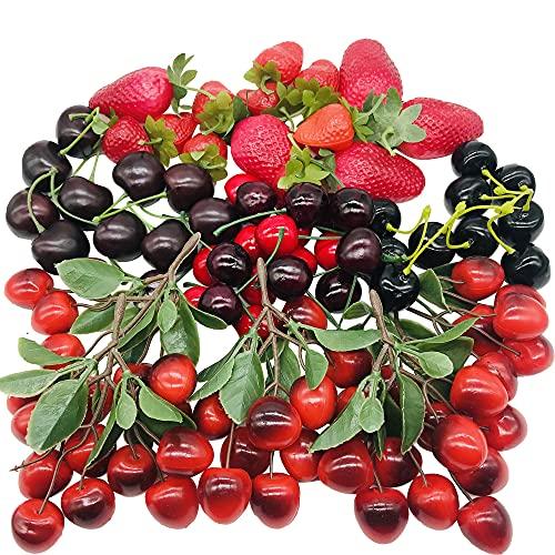 Woohome 50 Pz Frutas Artificiales, Frutas de Cerezas Artificiales Fresa Simulación Frutas Artificiales Decorativas para Decoración de Fiesta, Hogar, Cocina, Fotografía, Accesorio