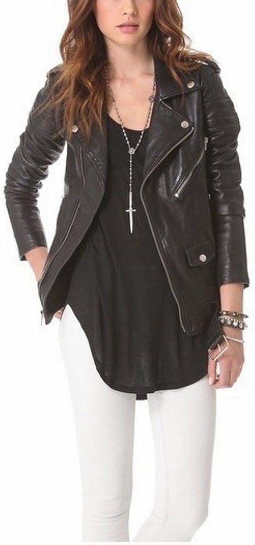 NBENTERPRISES Women's Slim Fit Genuine Leather Biker Jacket