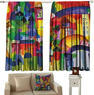 GUUVOR Art Heat Insulation Curtain Modern Vivid Abstract Architectural Buildings Urban Apartment Houses Village Landmark for Living Room or Bedroom W42 x L63 Inch Multicolor