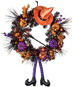"Lighted Witch Halloween Wreath Halloween Decoration - Measures 22"" W x 6"" D x 32"" H"