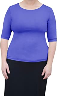 Kosher Casual Women's Modest Boat Neck Fitted Layering Top with Elbow Length Sleeves