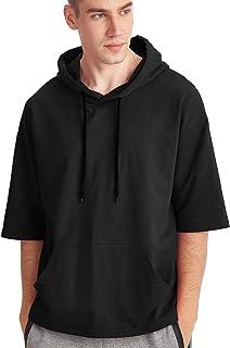 Zengjo Men's Short Sleeve Lightweight Sweatshirt Hoodies Solid Fashion Hooded T-Shirt