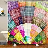 Cortina de ducha geométrica de tela teñida para niños y niñas, colorida cuadrícula de baño a cuadros accesorios impermeables con ganchos de lujo estilo bohemio, 72 x 72 pulgadas
