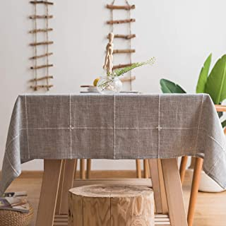 JZY Heavy Duty Cotton Linen Tablecloth for Rectangular Tables Solid Embroidery Lattice Table Cloth for Kitchen Dinning Tabletop Decoration (52