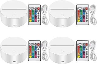 Thlevel 3D natt LED-lampa bas fjärrkontroll USB-kabel justerbar 16 färger dekorativa lampor (4 st vit)
