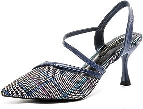[クツのクロダ] レディース 靴 チェック柄 サンダルパンプス 24cm カジュアル 可愛い サンダル ハイヒール 通気性 新品