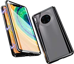Compatible with Huawei Mate 30 Pro Case, Jonwelsy 360 Degree Front and Back Transparent Tempered Glass Cover, Strong Magne...