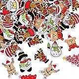 100 Botones Navidad Madera Colores Mezclados para Manualidades Costura Scrapbooking Artesania DIY Reno Oso Muñeco de Nieve Papá Noel Arbol