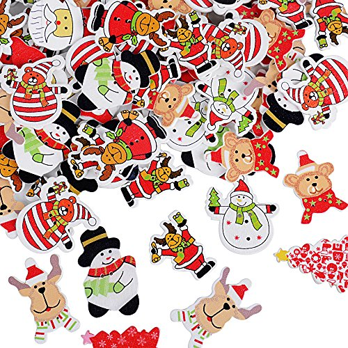 Navidad a los renos niños madera botones botones para bricolaje /& coser srapbooking