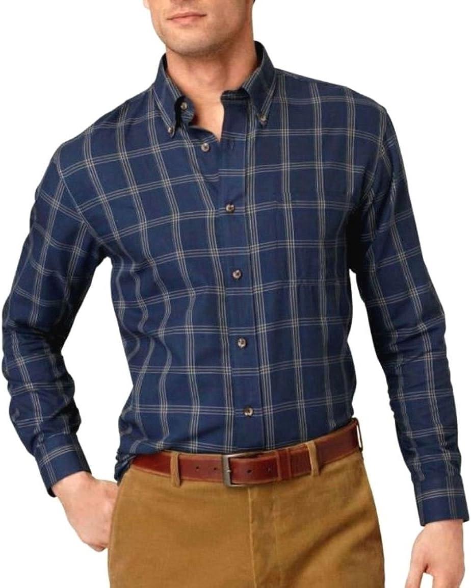 Arrow Mens Classic Fit Twill Casual Shirt Midnight Blue Tartan Plaid