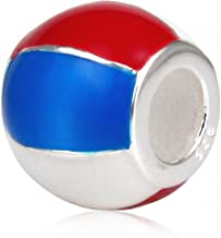 Xuthus Charms Beach Ball Red White Blue 925 Silver Sport Charm Beads for European Jewelry