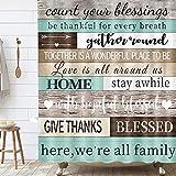Duschvorhang-Set mit Holzplanken, inspirierend, motivierend, Familie, warme Worte, Sätze, Scheune, rustikaler Stoff, Badezimmer-Gardinen mit Duschhaken, 175,3 x 177,8 cm