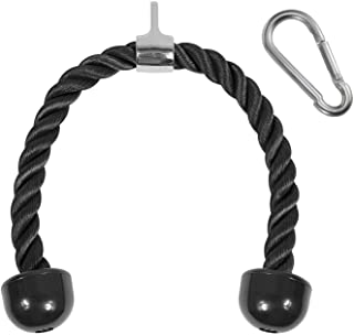 Yes4 All Deluxe Tricep Rope Down - 27 اینچ طول طناب، آسان برای گرفتن و غیر لغزش - ضمیمه کابل