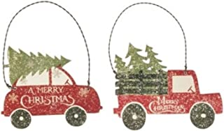 Retro Red Car and Farm Truck with Merry Christmas Trees Wood Ornaments Bundle Set, Vintage Farmhouse Decor, Gifts Tags for Boys