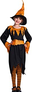 FEOYA Kids Toddlers Girls Halloween Pumpkin Witch Spider Fancy Dress Up Costume Cosplay Party Outfit with Hat