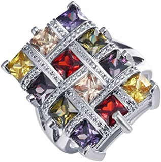 HYLJZ Anello Luxury Multicolor Crystal Zircon Ring for Women Fashion Jewelry Wedding Engagement Ring Gifts